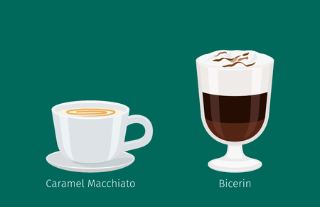 Coffee Drinks in Glass and Porcelain Cup Vectors