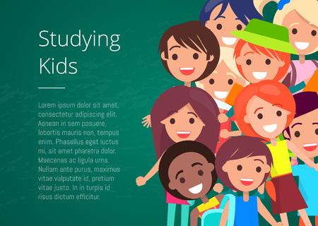 Studying Kids Isolated Vector Illustration Ilustração