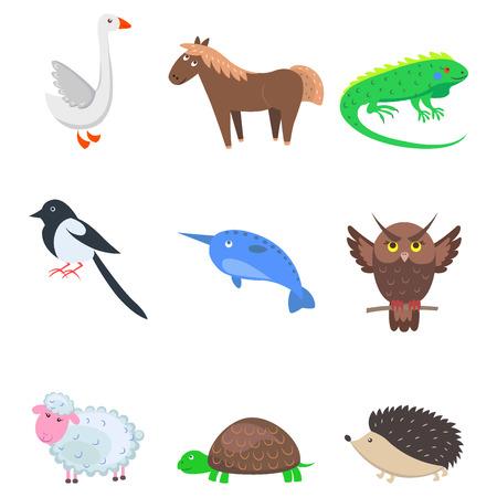 漫画の動物のペットとワイルドナインアイコンのセット  イラスト・ベクター素材