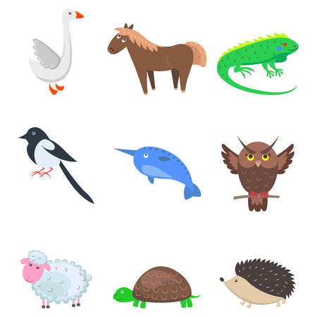 Set of Cartoon Animal Pet and Wild Nine Icons Illustration