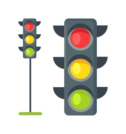Le icone dei semafori hanno isolato il vettore su bianco Archivio Fotografico - 90603088