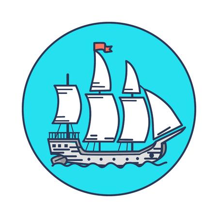 물에 하얀 항해와 고대의 나무 선박