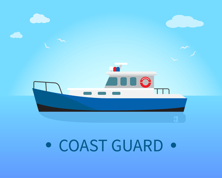 Coast Guard Ship in Blue Waters at Sunny Day  イラスト・ベクター素材