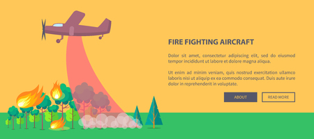 Poster met vliegtuig dat bosbrand uitdoet Stockfoto