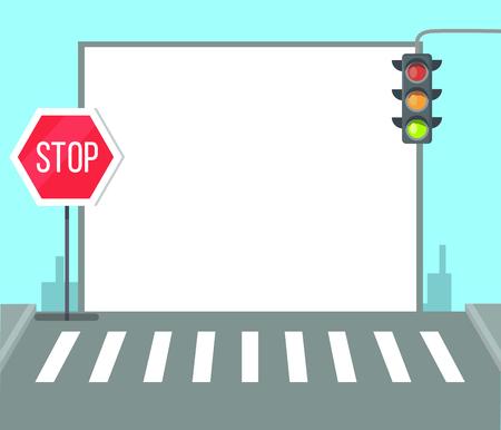 Voetgangersoversteekplaats met stopbord, verkeerslichten