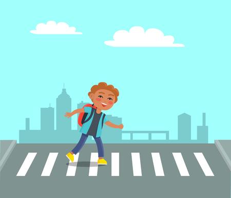 Smiling Boy at Crosswalk on Urban City Background.