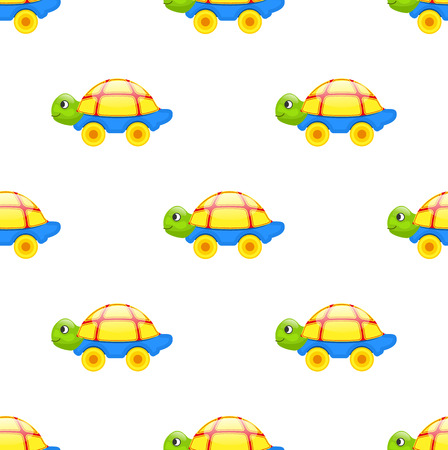 Seamless Pattern with Toy Turtle on Wheels Isolated Ilustrace