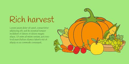 Rich Harvest Banner with Fruits and Vegetables Illustration