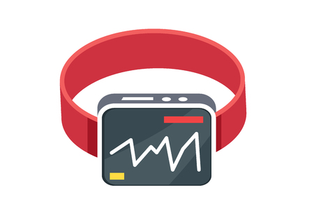 Red Smart Watch Flat Style on White Background Illustration
