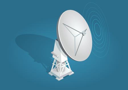 Radar Dish Satellites Dish Flat and Shadow Theme Vectores