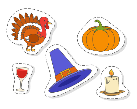 Thanksgiving Day Symbols stickers Flat Vector Set