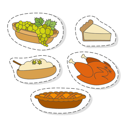 Fruits and Vegetables Flat Vector Stickers Set
