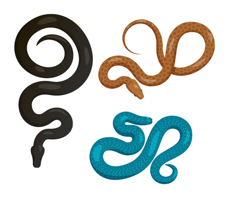 Slither Snakes Top View Vector Icons Set