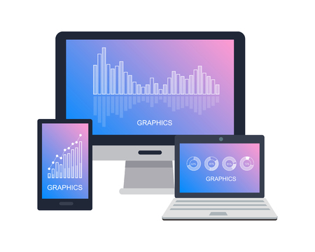 Devices Icon with Graphics on Screen Flat Vector Illustration