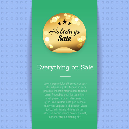 Everything on Sale Golden Label with Stars Poster Illustration