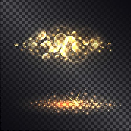 Golden Light Effect Isolated on Black Ttransparent Illustration