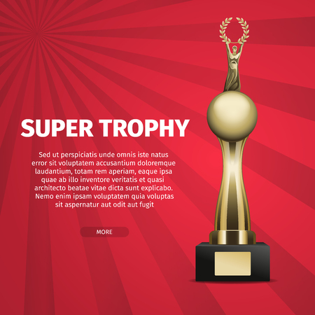 Super Trophy Vector Web Banner with Golden Cup Иллюстрация
