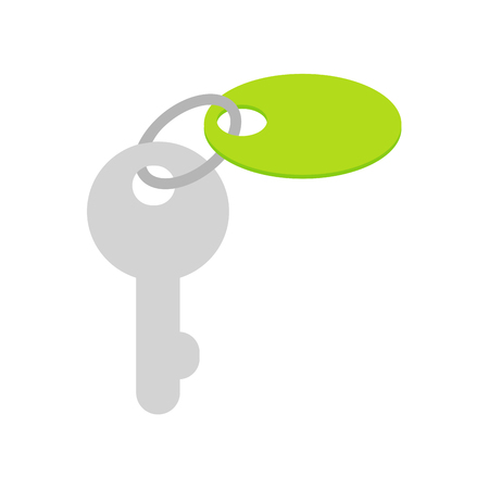 Key with Trinket on Keyring Flat Vector Icon