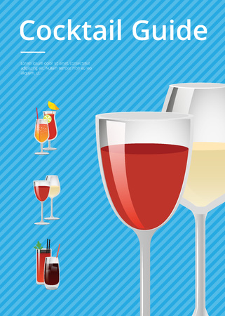 Cocktail Guide Advertising Poster Gasses of Wine Illustration