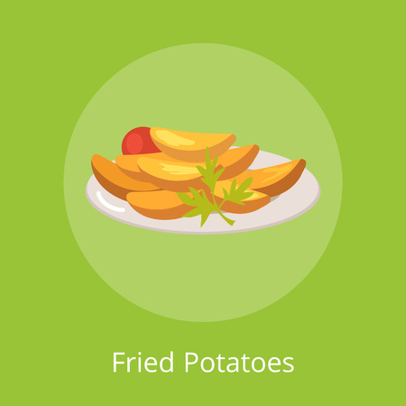 Fried Potatoes with Vegetables on Plate Vector