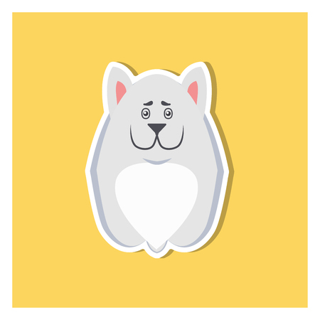 Small Puppy of Argentinian Dog Front View Icon Illustration