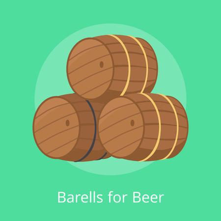 Barrels for Beer Vector Illustration Isolated Illustration