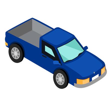 ホワイトベクトルで隔離されたブルーバンピックアップトラック  イラスト・ベクター素材