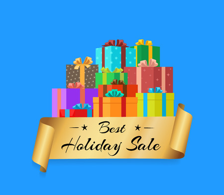 Best Holiday Sale Poster with Gold Ribbon Gift Box Çizim