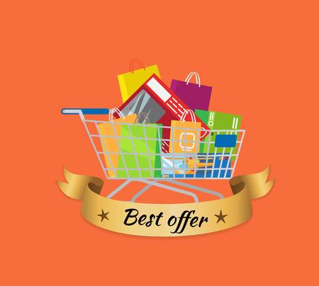 Best Offer Promo Banner Cart Full of Shopping Bags
