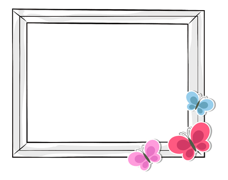 Black and White Photo Frame with Colorful Balloons Ilustração