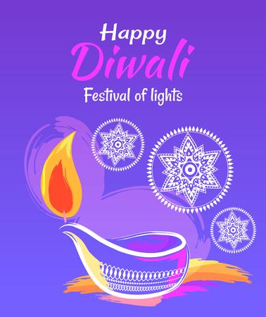 Happy Diwali Festival of Lights 2017 Poster Ilustração