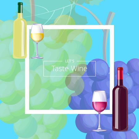 Let s Taste Vine Postcard Vector Illustration Ilustração