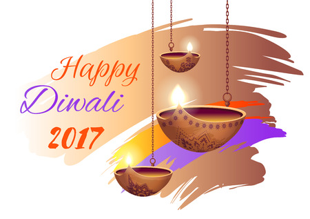 Happy Diwali 2017 Poster on Vector Illustration