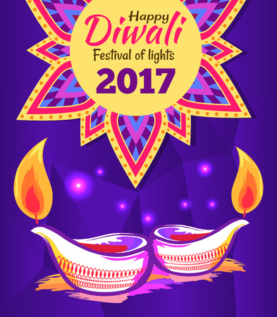 Happy Diwali Festival of Lights 2017 Poster Vector Illustration