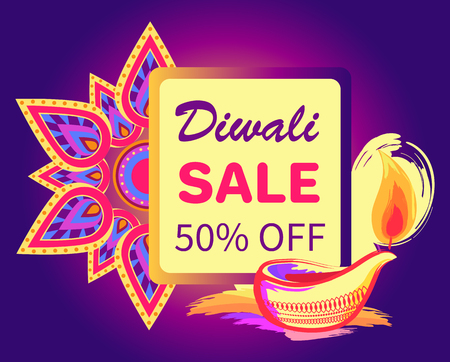 Diwali Sale -50 off Sign Vector Illustration