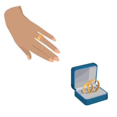 Golden Wedding Rings with Love Forever Engravings Illustration