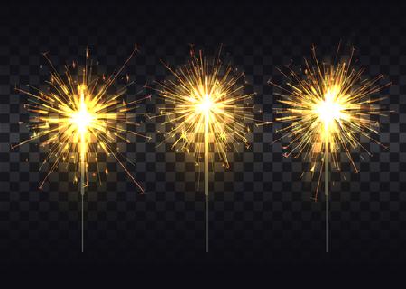 Golden Sparklers on Metal Stick Realistic Set Illustration
