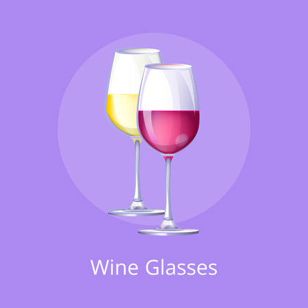 Wine Glasses with Alcohol on Vector Illustration
