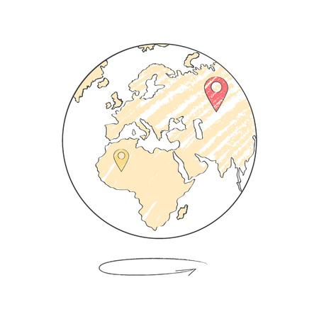 지구의 아이콘과 함께 여행 목적지의 마크