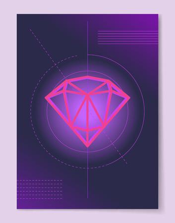 서클 라인 크리스탈에 귀중한 다이아몬드의 스케치