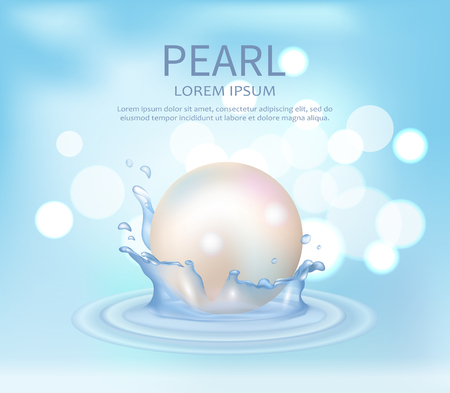 Huge White Shiny Pearl Vector Illustration