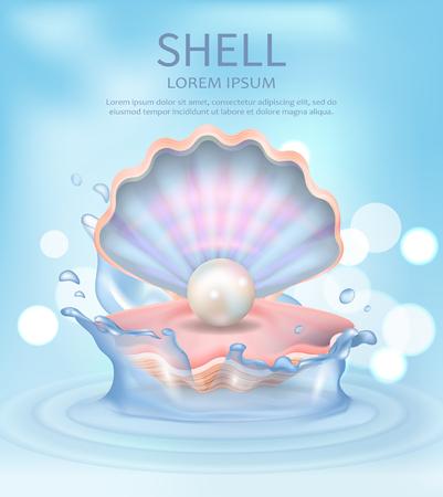 テキストベクトルイラスト付きシェルエレガントポスター