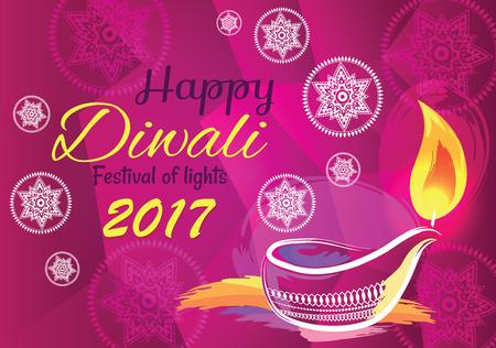 Happy Diwali Festival of Lights 2017 Banner Vector