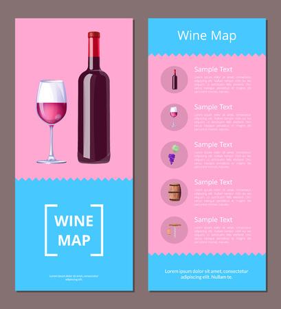 Wine Map Alcoholic Menu Vector Illustration Icons