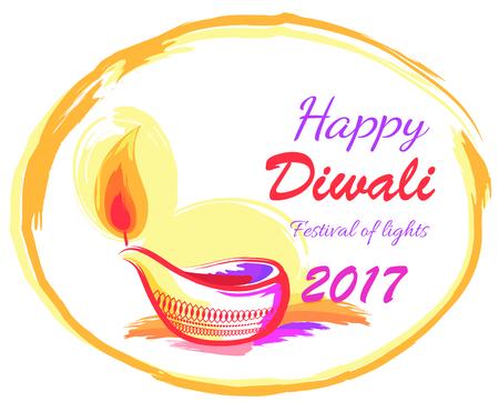 Happy Diwali 2017 Festival of Lights Banner Illustration