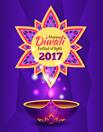 Happy Diwali Promo Poster Vector Illustration Text