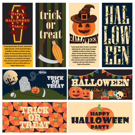 Vintage Halloween Party Promo Posters Collage
