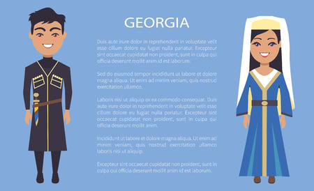 Georgia Costumes, on Vector Illustration Blue