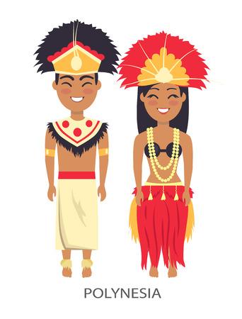 Polinesian Couple, Traditions Vector Illustrataion