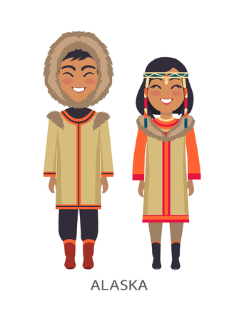 Alaska People in Clothes on Vector Illustration Иллюстрация